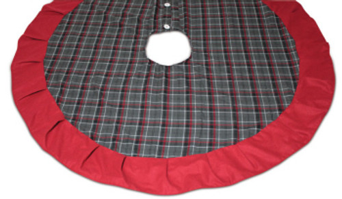 "62"" Rustic Lodge Grey, Red and Black Plaid Christmas Tree Skirt - 30852545"