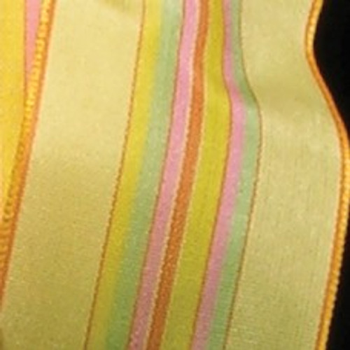 "Yellow with Pink and Green Stripe Woven Taffeta Wired Craft Ribbon 1.5"" x 27 Yards - 31384780"