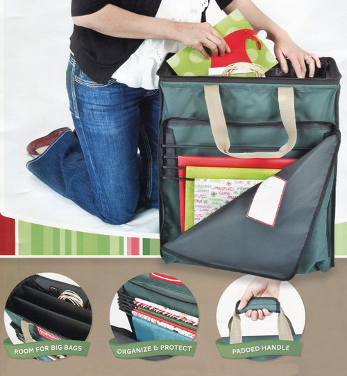"""22"""" Green Tissue and Gift Wrapping Paper Christmas Storage Bag - 31302193"""