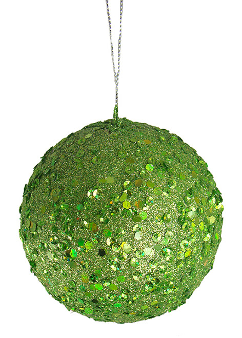 """Fancy Lime Green Holographic Glitter Drenched Christmas Ball Ornament 4.75"""" - 11223834"""
