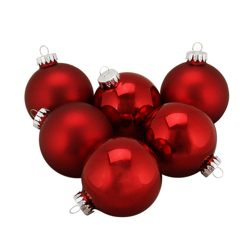 "6ct Shiny and Matte Traditional Red Glass Ball Christmas Ornaments 2.5"" (65mm) - 31393930"