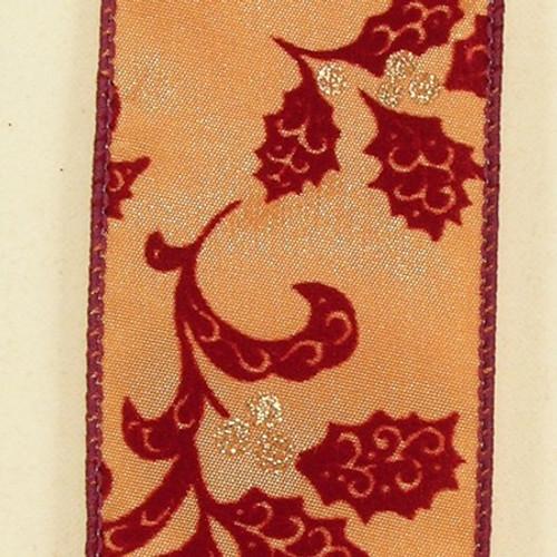 "Metallic Red and Gold Holiday Swirls Wired Craft Ribbon 2"" x 20 Yards - 31385138"