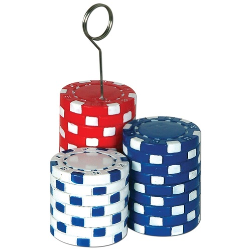 Pack of 6 Red, White and Blue Poker Chips Photo/Balloon Holder 6 Oz. - 31557657