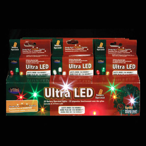 24 LED Battery Operated Micro Christmas Light Sets - Multi-Colored & White Bulbs - 17030504