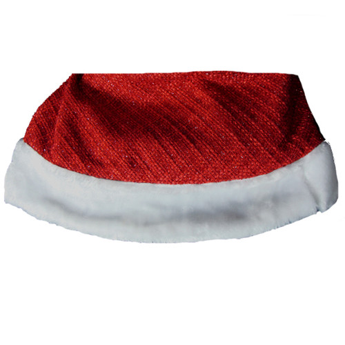 """48"""" Woven Red Sparkle Chenille Christmas Tree Skirt with White Faux Fur Trim - 20921648"""