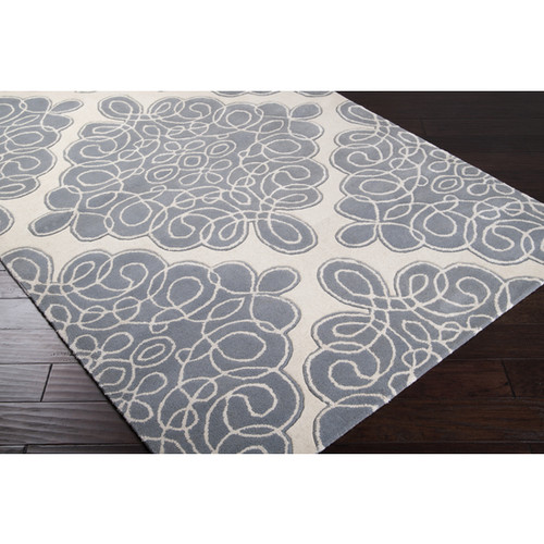 9' x 13' Floral Eddy Foggy Blue Wool Area Throw Rug - 28462857