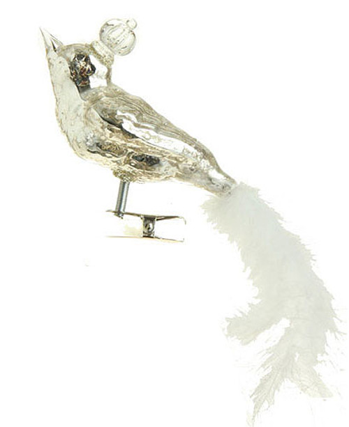 "6"" Speckled Glass King Bird with Faux Feather Tail Clip-On Christmas Ornament - 31072861"