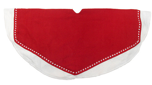 "47"" Red and White Christmas Tree Skirt With Weaved Edge - 16158478"