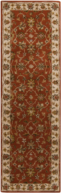 2.5' x 8' Rio Bravo Maroon, Red and Brown Hand Tufted Wool Area Throw Rug Runner - 28455879