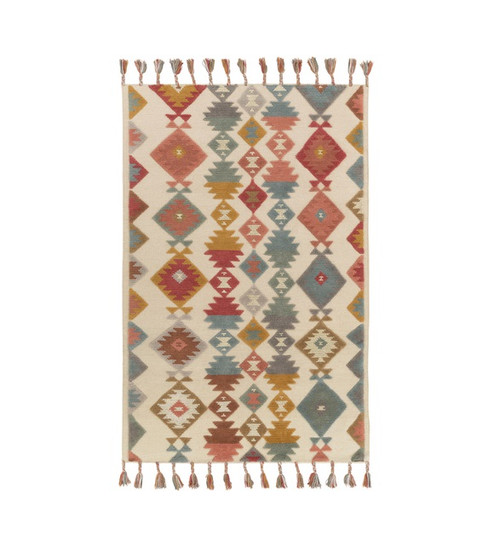 8' x 10' Iroquois Creations Ruby Red, Teal Blue, Fallow and Beige Hand Woven Area Throw Rug - 32208940