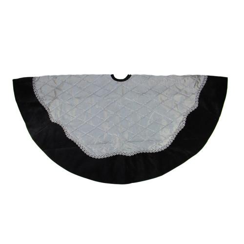 """48"""" Luxurious Gray and Silver Crisscrossed Christmas Tree Skirt with Black Velvet Border - 31759077"""