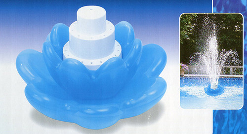 Floating Blue Blossom Flower Triple Tier Water Fountain for Swimming Pools - 30925302
