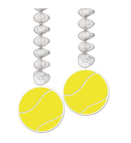 """Club Pack of 24 Tennis Ball Danglers Hanging Party Decorations 30"""" - 32146862"""