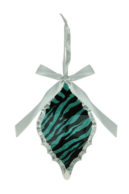 "5.75"" Glittered Teal Zebra Print Diamond Prism Christmas Ornament - 21290487"