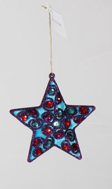 "4.5"" Blue Velvet Purple Glitter Star with Gems Christmas Ornament - 18365192"