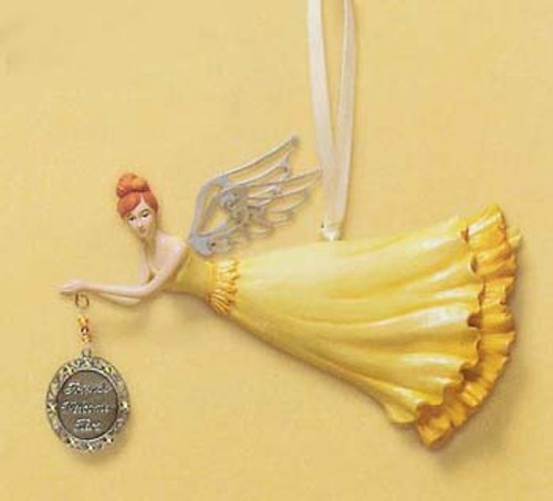 """RUSS """"Friends Welcome Here"""" Angel Christmas Ornament #31206 - 5814297"""
