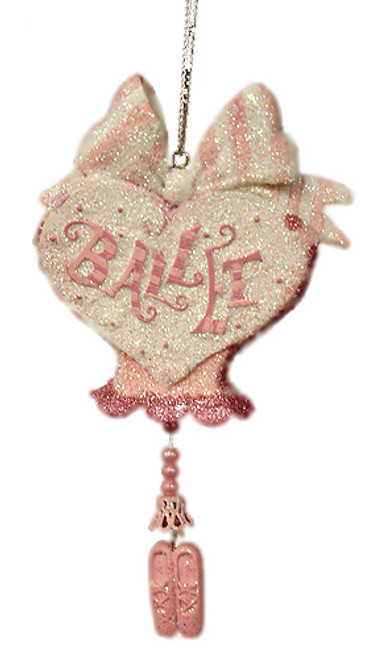 """Pink And Silver Glitter """"Ballet"""" Christmas Ornament #W7086 - 5999284"""