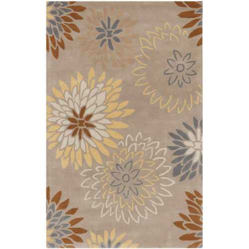 8' x 11' Antheia Beige, Chocolate Brown and Gold Wool Area Throw Rug - 30887530