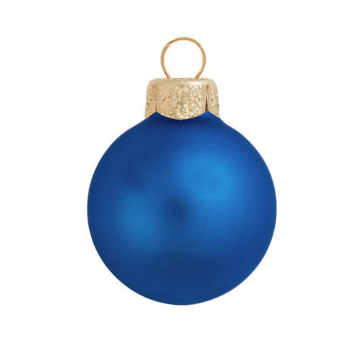 "28ct Matte Delft Blue Glass Ball Christmas Ornaments 2"" (50mm) - 30939494"