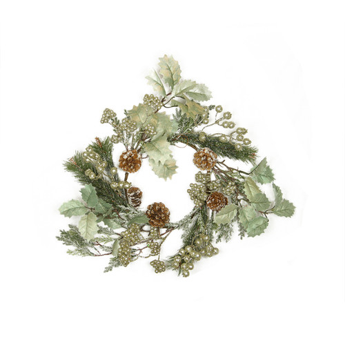 """15"""" Gold Glitter Red Holly and Frosted Pine Cone Christmas Wreath - Unlit - 31364330"""