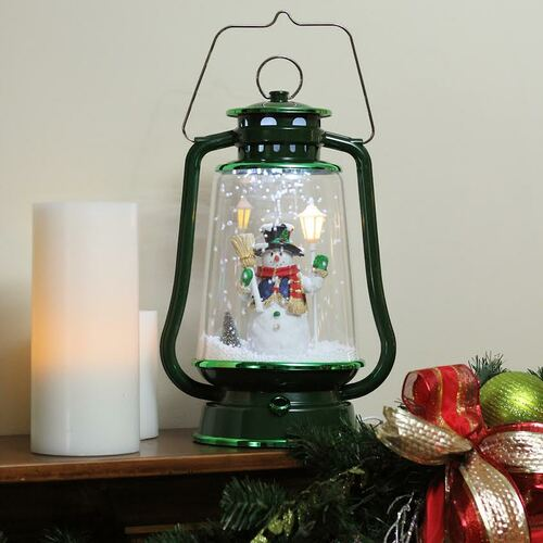 """13.5"""" Green Lighted Musical Snowman Snowing Christmas Table Top Lantern - 32266719"""