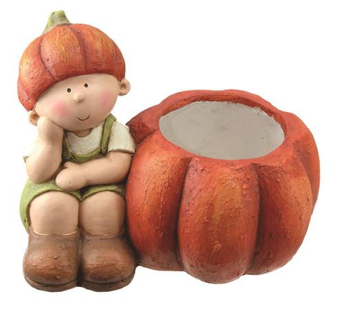 "13"" Fall Harvest Sitting Boy with Decorative Orange Pumpkin Pot Table Top Decoration - 32262126"