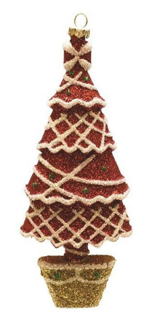 """7"""" Merry & Bright Red, White and Gold Glitter Shatterproof Christmas Tree Ornament - 32256738"""