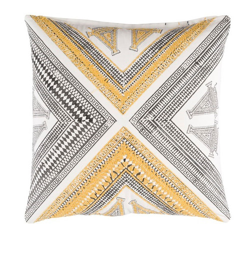 """22"""" Golden Yellow, Maple Sugar Brown and White Woven Decorative Throw Pillow - 32217302"""