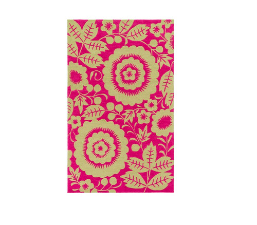 5' x 7.5' Flowers In Full Bloom Radiant Magenta and Natural Pear Green Area Throw Rug - 32209064