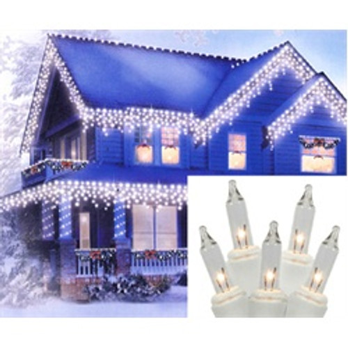 Set of 100 Clear Mini Icicle Christmas Lights - White Wire - 25250655