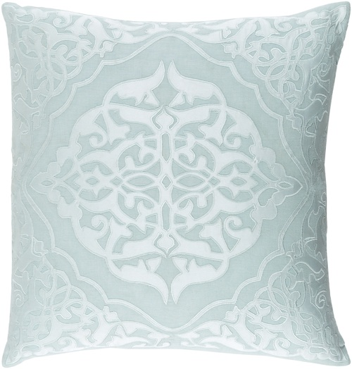"""20"""" Seafoam Green and Pastel Blue Woven Patterned Decorative Throw Pillow - 32217554"""