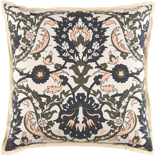 "20"" Light Peach, Black, Olive Green and Beige Woven Decorative Throw Pillow-Down Filler - 32217630"
