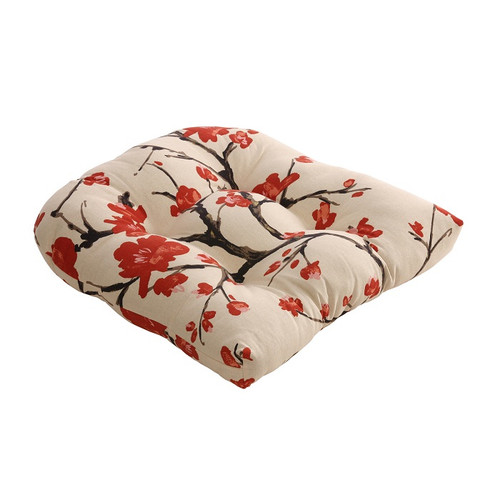 "Eco-Friendly Cherry Blossom Flowering Branch Beige & Red Seat Cushion 19"" x 19"" - 30868366"
