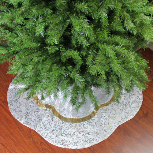48 white sequin and metallic silver and gold ombre flourish scallop christmas tree skirt 32231693 - Silver Christmas Tree Skirt