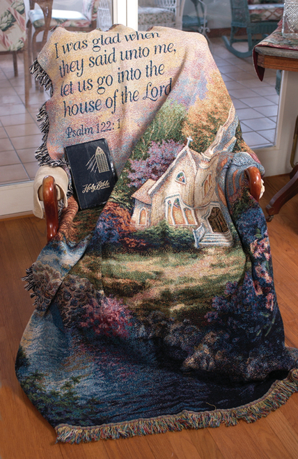 """Church in the Country Religious Verse Psalm 122:1 Tapestry Blanket 50"""" x 60"""" - 30782103"""