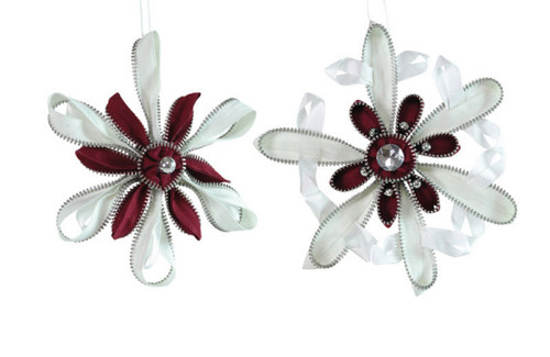 "Pack of 6 Red and White Zipper Punk Snowflake Christmas Ornmaents 7.5"" - 30658247"