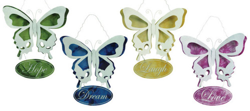 """4 Pack Tin Butterfly Inspirational Plaques (Love/Laugh/Hope/Dream) 24"""" - 18363186"""