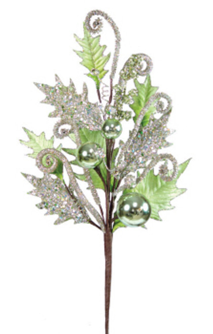 """Pack of 8 Green & Silver Glittered Holly Leaves & Ornaments Christmas Sprays 23"""" - 30657957"""