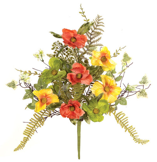"""Pack of 6 Yellow and Orange Poppy Flowers with Ivy and Fern Leaves Decorative Artificial Sprays 19"""" - 31456258"""
