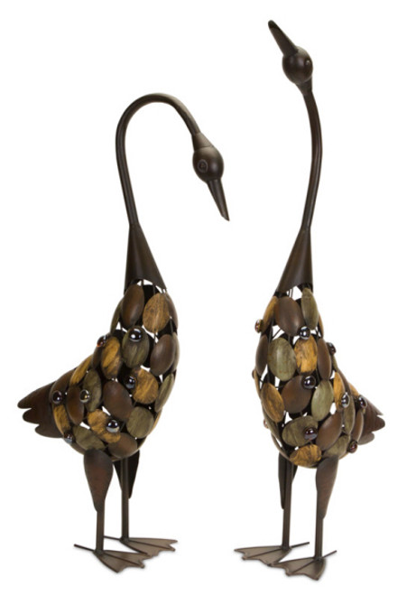 """Set of 2 Metal Work Decorative Brown and Amber Geese 31"""" - 31456236"""