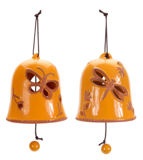 """Pack of 4 Decorative Orange Hanging Bells with Dragonfly and Butterfly 5"""" - 31365904"""
