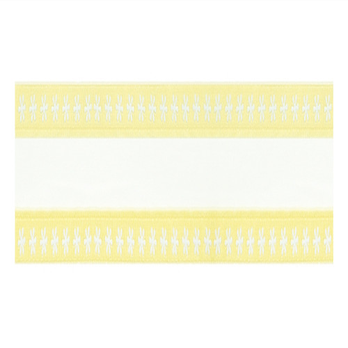"""Pack of 6 White/Yellow Floral Border Spring Wedding Wired Ribbon 1.5"""" x 60 Yds - 18363010"""