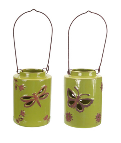 """Pack of 4 Decorative Green Lantern Dragonfly and Butterfly with Flowers 6.5"""" - 31365903"""