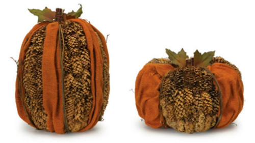 "Pack of 2 Orange and Brown Pine Cone Pumpkin Table Top Decorations 7""- 9"" - 31455142"