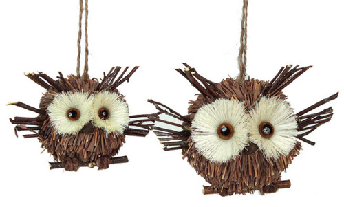 "Set of 2 Decorative Hanging Owls 3.5"" and  4.75"" - 30893517"