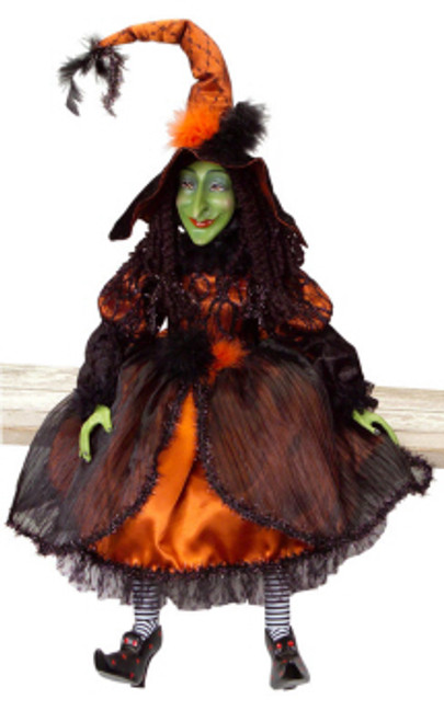 "Whimsical Orange and Black Posable Halloween Witch Decorations 36"" - 31455422"