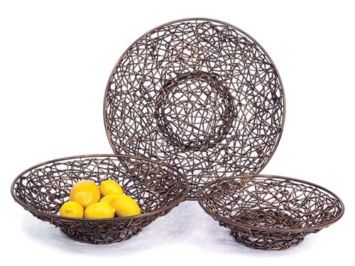 Set of 3 Spring Serenity Decorative Asian Inspired Rattan Bowls - 9529863