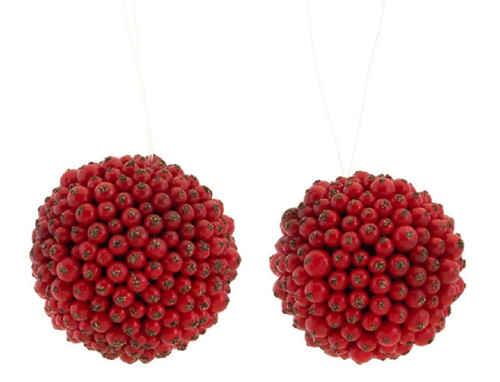 "Pack of 8 Christmas Brites Red Berry Christmas Ball Ornaments 4.5"" - 31456892"