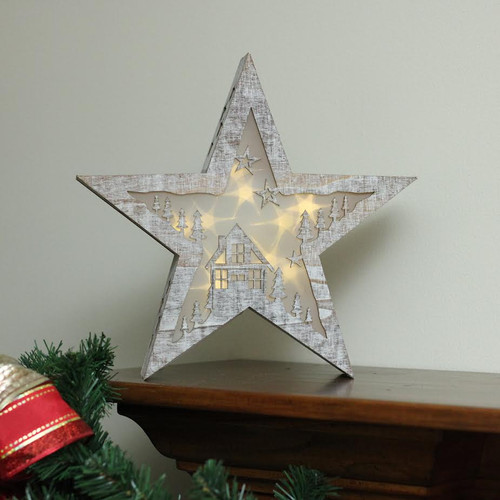 10 Battery Operated Led Lighted Rustic Wooden Star Christmas