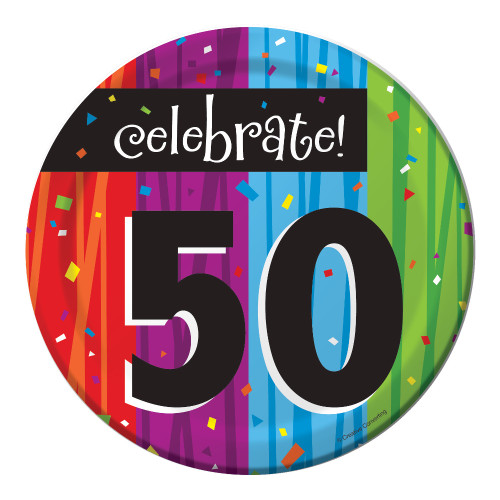 "Club Pack of 96 Milestone Celebrations ""Celebrate 50"" Disposable Paper Party Lunch Plates 7"" - 31380008"
